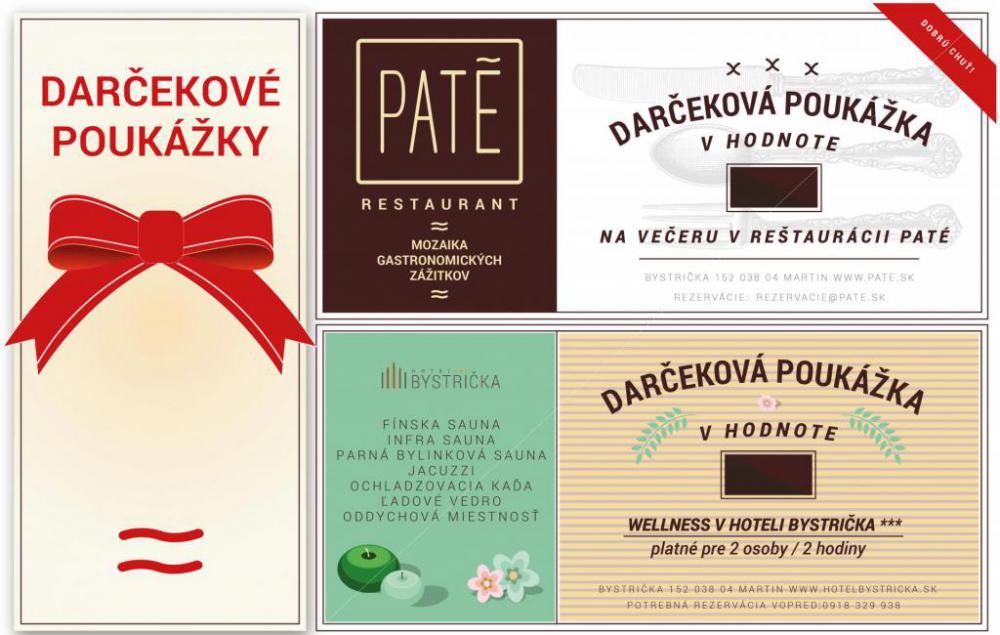 Darček poukážka wellness reštaurácia PATE tip darček martin Hotel Bystrička, Pobytové balíky, akcie, udalosti, darčekové poukážky v Hoteli Bystrička