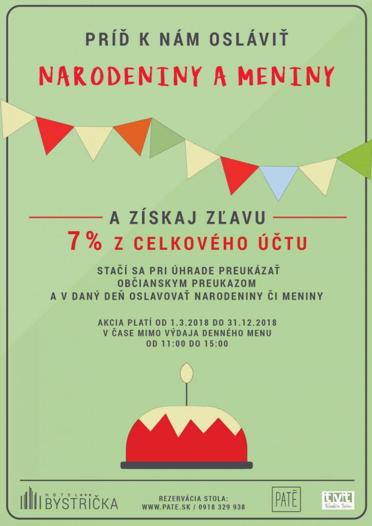 narodeniny meniny zľava martin bystrička hotel pate restaurant 7% z účtu