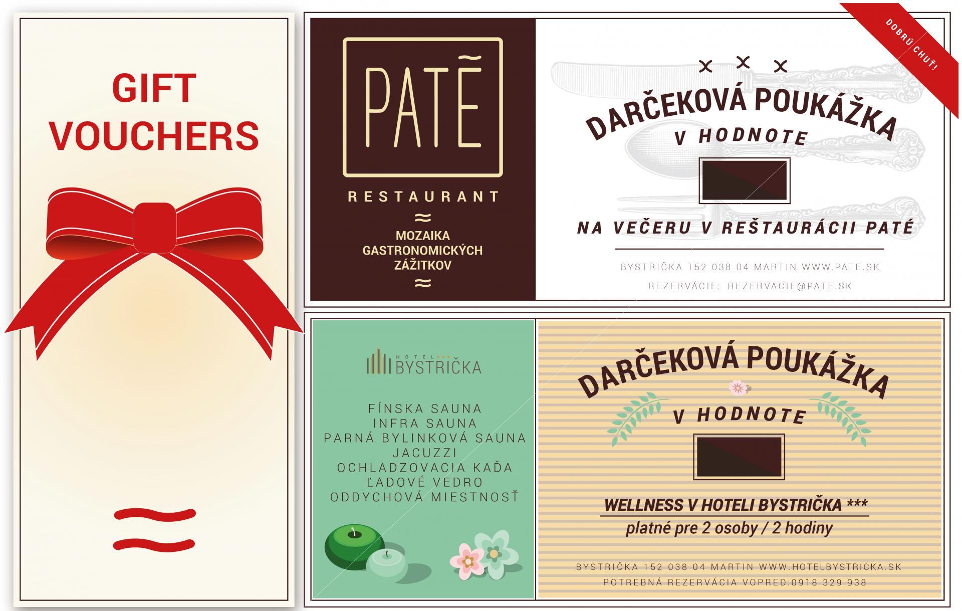 Darčeková poukážka wellness reštaurácia PATE tip darček martin Hotel Bystrička
