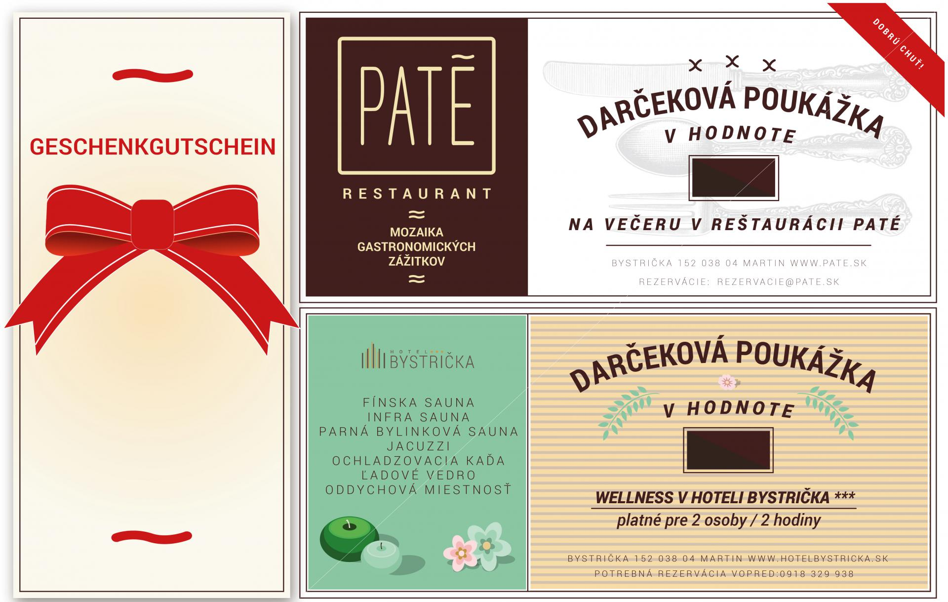 Darčeková poukážka wellness reštaurácia PATE tip darček martin Hotel Bystrička, Pobytové balíky, akcie, udalosti, darčekové poukážky v Hoteli Bystrička