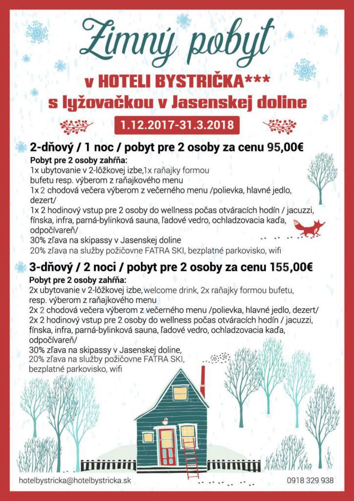 Pobytový balík zimný lyžovačka Jasenská dolina Martin Hotel bystrička Pobytové balíky, akcie, udalosti, darčekové poukážky v Hoteli Bystrička